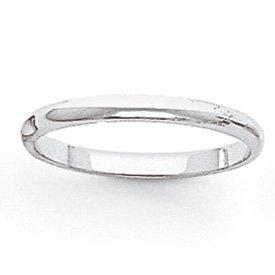 Genuine IceCarats Designer Jewelry Gift 14K White Gold 2Mm Half-Round Band Size 4.50