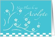 Teal Flowers Niece Please Be My Acolyte Wedding Attendants Card