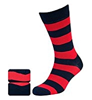 2 Pairs of Blue Harbour Cotton Rich Rugby Striped Socks