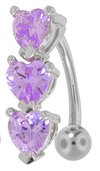 VIOLET Swarovski Crystal Hearts Reverse Dangle Belly Button Ring