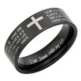 New Mens Lords Prayer in ENGLISH Stainless Steel Ring 8mm Wide Brand New. Size S - Stylish Design. Engraved with I let Jesus into my life on the inside of the Ring. Available in Most Sizes This is Size S Click Through to see other Sizes Comes in a Qualit