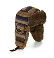 Faux Fur Striped Trapper Hat