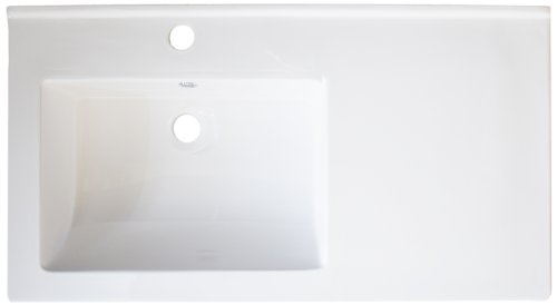 American Imaginations 317 34-Inch by 18-Inch White Ceramic Top with Single Hole