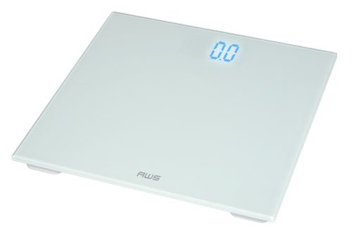 American Weigh Scales ZT-150-WT Digital Glass Top Bathroom Scale with Blue LCD and 330-Pound Capacity, White