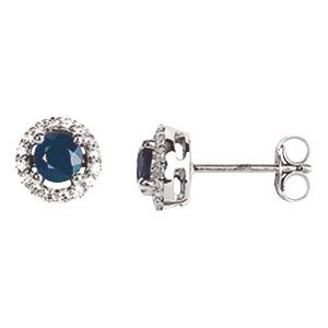 So Chic Jewels - Ladies 18k White Gold Blue Sapphire & Cubic Zirconia Stud Earrings