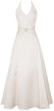 Satin Halter Dress Crystal Pin Prom Holiday Gown Formal Bridesmaid, Large, Ivory