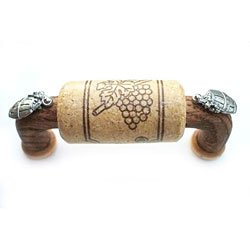 "3"" CTC Wine Cork Bin Pull - Wood - with Silver Barrels Accents"