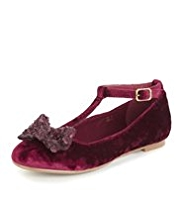 Velvet T-Bar Shoes