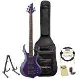 ESP F-155DX-DSTP-KIT-1 Dark See Thru Purple 5-String Electric Bass with Accessories and Gig Bag