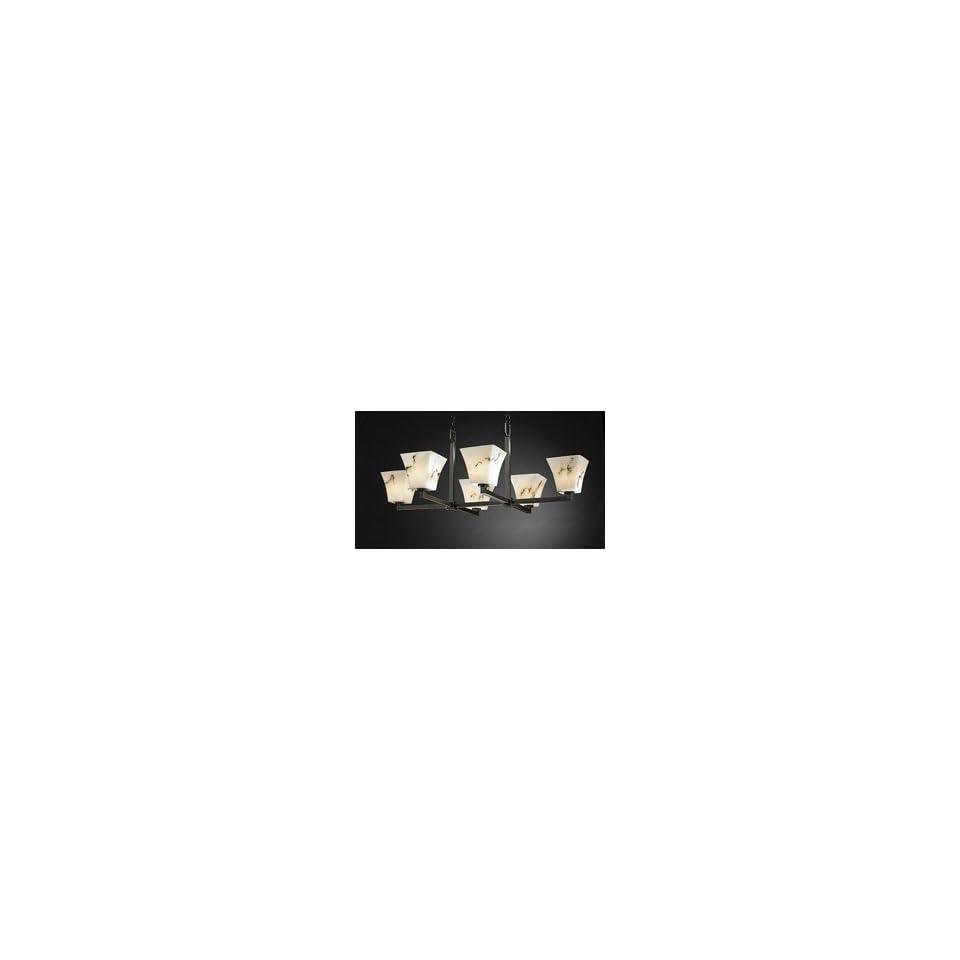 Justice Design Group FAL 8846 MBLK Matte Black LumenAria Alabaster Stone / Glass 6 Light Oval Chande