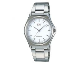 Casio Mtp1130 3-hand Analog Mens Fashion White Face Silver Metal Band Watch