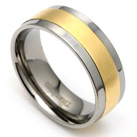 High Polished Titanium Ring with Gold Plated Center For Men