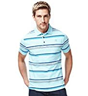 "2"" Longer Blue Harbour Pure Cotton Striped Polo T-Shirt"