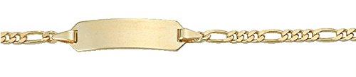 Damen Schmuck Gold Identitätsarmband Figaro / Figarokette aus 585 Gelb Gold ( 14 cm ) ( 2,3 mm ) als Geschenk