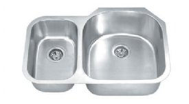 MADELI Undermount Double Bowl Kitchen Sink W/ Small Bowl On Left Side MG-3121-L Stainless Steel