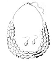 Silver Plated Twisted Nugget Necklace & Earrings Set