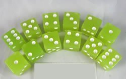Glow in the Dark Lemon 16mm 6 Sided Dice 12 ea in Box - 1