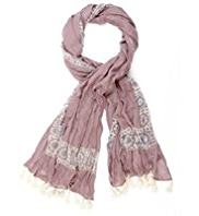 Indigo Collection Lightweight Border Print Tassel Trim Scarf