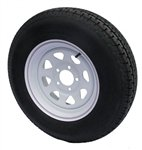 ST205/75R14 Trailer Tire & White Spoke Wheel Assembly
