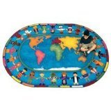 "Joy Carpets Kid Essentials Early Childhood Hands Around The World Rug, Multicolored, 5'4"" x 7'8"""