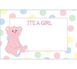 It's A Girl Bear Baby Shower Enclosure Cards