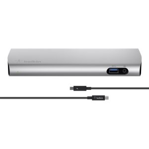 Belkin Thunderbolt 2 Express Dock HD with Cable - for Notebook/Desktop PC - Thunderbolt 2 - 3 x USB Ports - 3 x USB 3.0 - Network (RJ-45) - HDMI - Microphone - Wired - F4U085TT from BELKIN