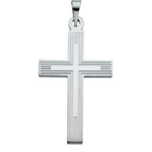 Mens Womens 14kt White Gold Cross Pendant with Embossed Cross inside the Cross