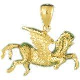 CleverEve 14K Yellow Gold Pendant Pegasus 5.5 Grams