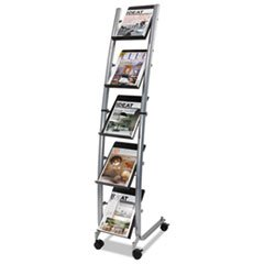Narrow Mobile Literature Display, 30 3/4w x 5 1/2d x 37 1/2h, Chrome/Black