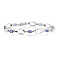 0.01 Diamond & 1.70 Tanzanite Bracelet in 14K White Gold