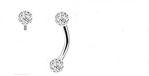 Internal Dimond Crystal Clear Ferido Ball Made with Swarovski Curved Barbell Christina Vertical Hood VCH Jewelry Genital Piercing 1/2 (WHITE) (Vertical Hood Piercing compare prices)