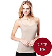 Scoop Neck Mesh Trim Stretch Vests