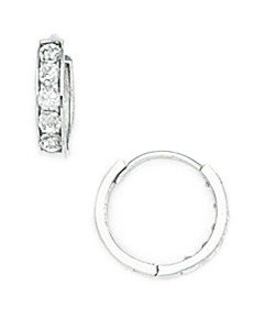 14k White 1.5mm Round CZ Childrens Hinged Earrings - Diameter: 3/8
