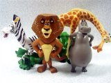 "Set of 4 Madagscar 3"" to 4"" Figures Featuring Gloria the Hippo, Alex the Lion, Marty the Zebra, and Melman the Hypochondriac Giraffe"