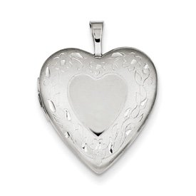 Genuine IceCarats Designer Jewelry Gift Sterling Silver 20Mm Floral Border Heart Locket