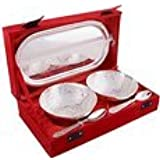 Designox Set Of 2 Bowls With Spoon And Tray Made Of Brass Silver Plated Packed In High Quality Velvet Gift Box...