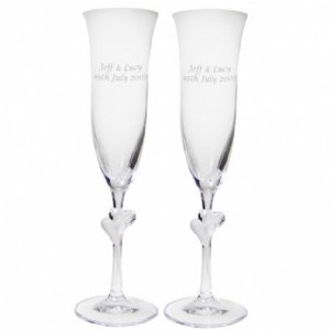 Personalised Champagne Flutes with Heart Stems