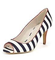 Peep Toe Striped Court Shoes