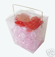 24 PCS 2-1/4 x 3-1/2 x 3 Clear Chinese Take Out Boxes PVC