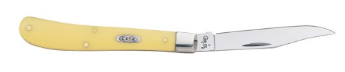 Case Cutlery 031 Case Slimline Trapper Pocket Knife With Chrome Vanadium Blade, Yellow Synthetic