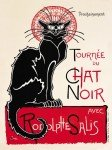 TOURNEE DU CHAT NOIR (TURN OF THE BLACK CAT) LARGE ENAMELLED RETRO ADVERTISING METAL WALL SIGN 30X40cms