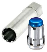 McGard 65557BC Chrome With Blue Cap SplineDrive Wheel Installation Kit (M12 x 1.5 Thread Size) - For 5 Lug Wheels