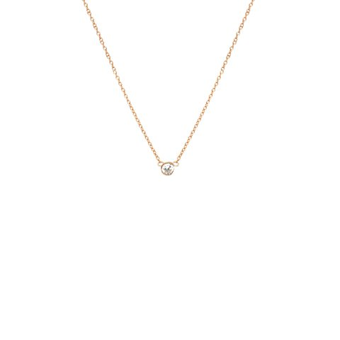apop nyc 18k Rose Gold Vermeil Mini Solitaire CZ Necklace 16 inch