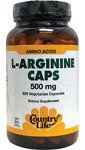 Country Life L-Arginine 500 mg with B-6, Vegetarian Capsule,