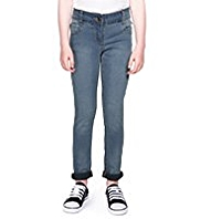 Turn Up Hem Skinny Denim Jeans
