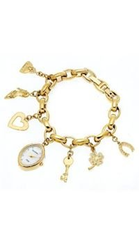 Armitron Women's 753732MPGP NOW Swarovski Crystal Accented Gold-Tone Charm Bracelet Watch