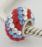 Red / White / Blue Swirl - Swarovski Crystal Discoball - Sterling Silver Core Charm Bead - fits Pandora, Chamilia etc style Bracelets - SpangleBead
