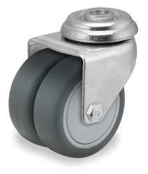 "Thermoplastic Rubber Dual Wheel 3"" X 1"" Swivel Caster"