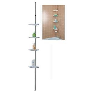New White Adjustable Shower Organiser 4 Shelf Storage