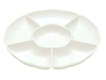 White Plastic Compartment Serving Tray 12-Inch front-220075